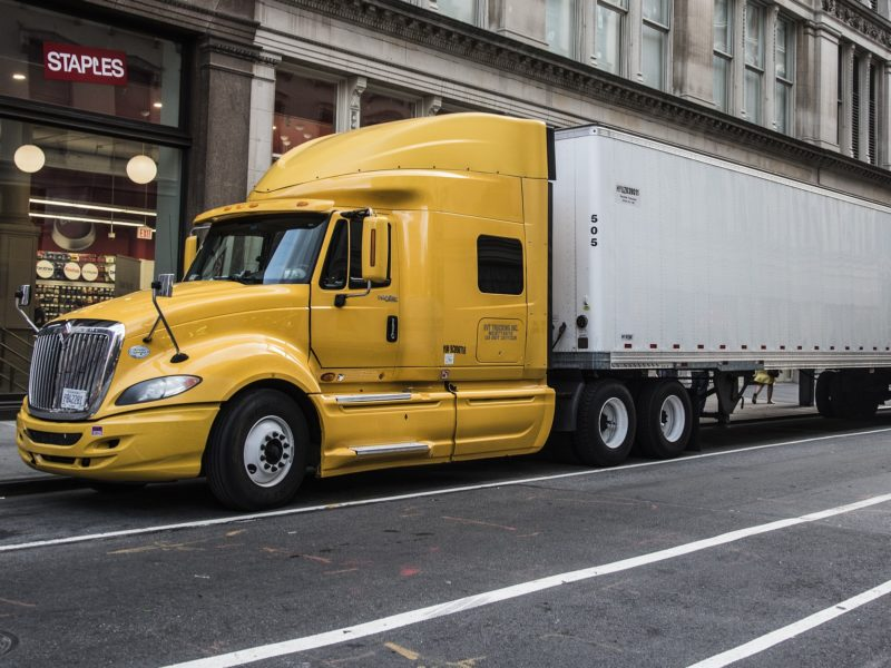 tax deductions for truck drivers - truck parked on street in urban setting